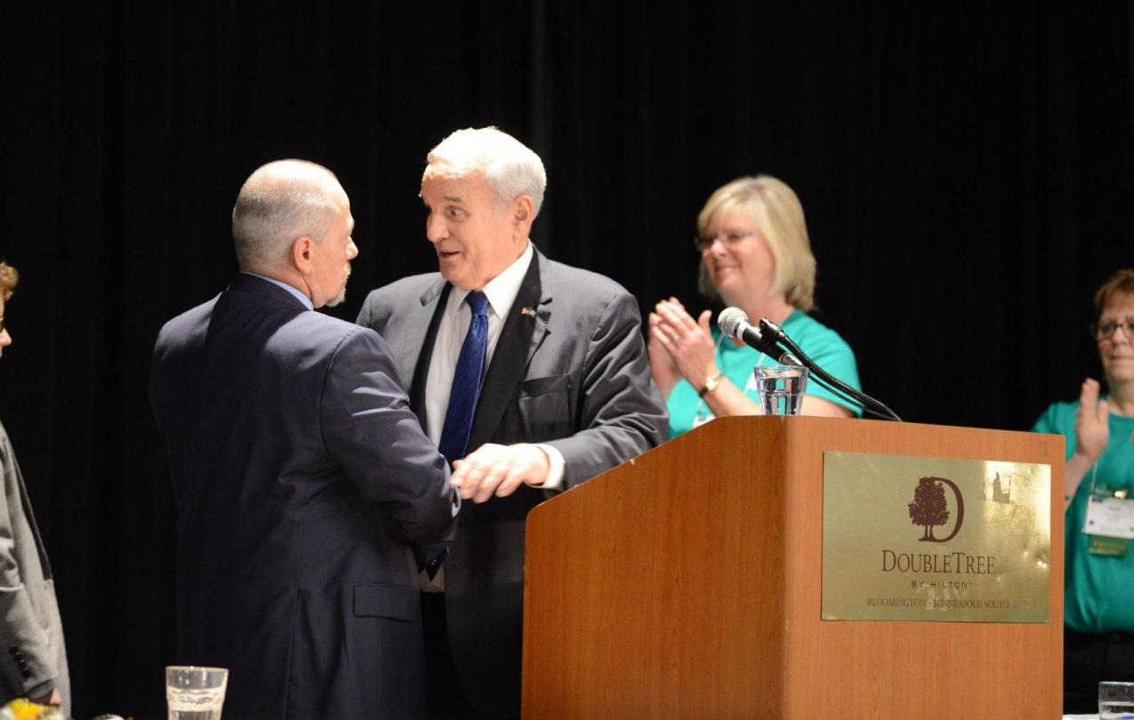 AFSCME Council 5 Executive Director John P. Westmoreland and President Judy Wahlberg bid farewell to retiring Governor Mark Dayton