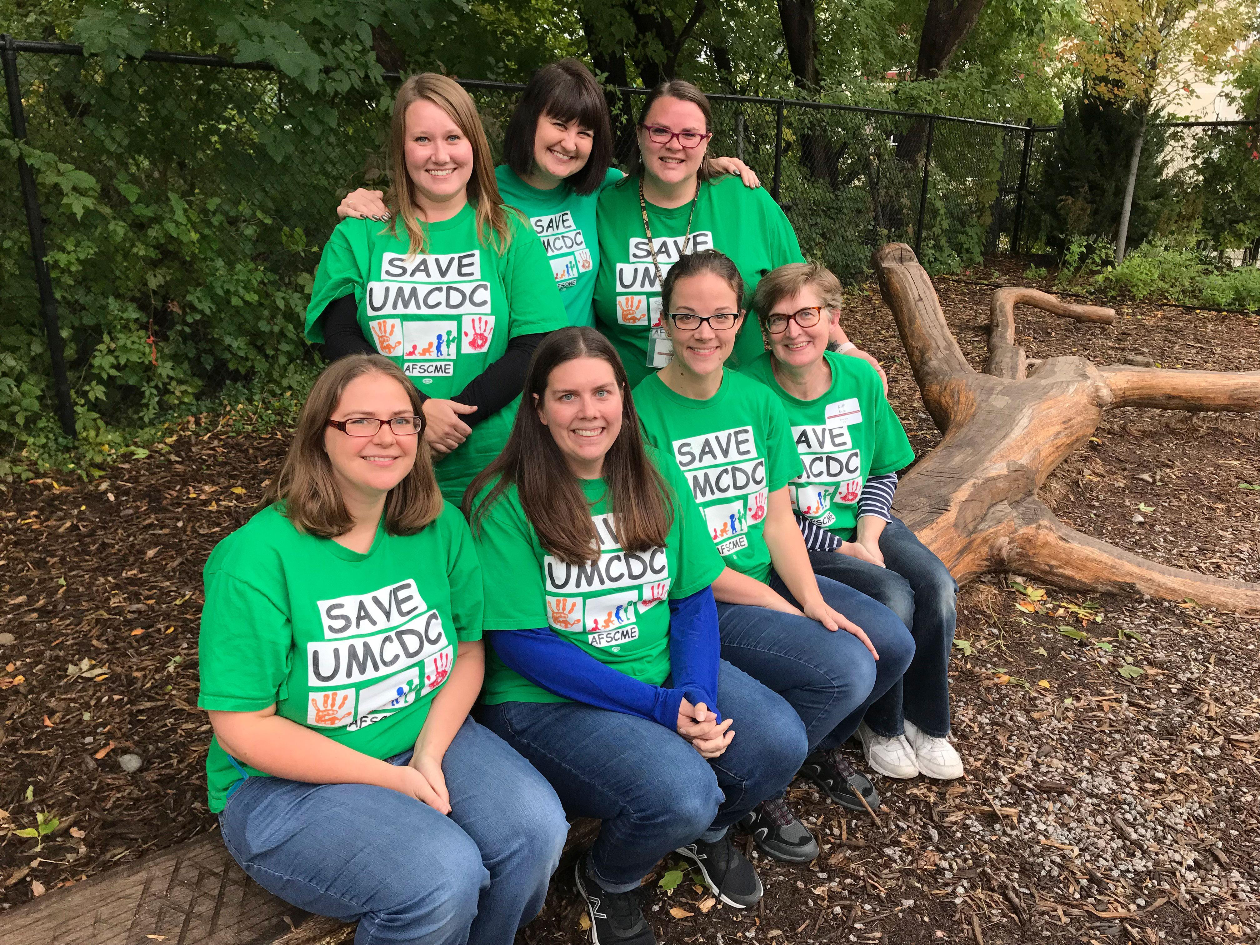 Front row, left to right: Steward Emily Erpelding; staff campaign co-chair, Heather Lynch; Laura Elliott; and Kelli Kern. Back row, left to right: Mandy Sumwalt; Lily Bray; and co-chair Magn Wakeham.