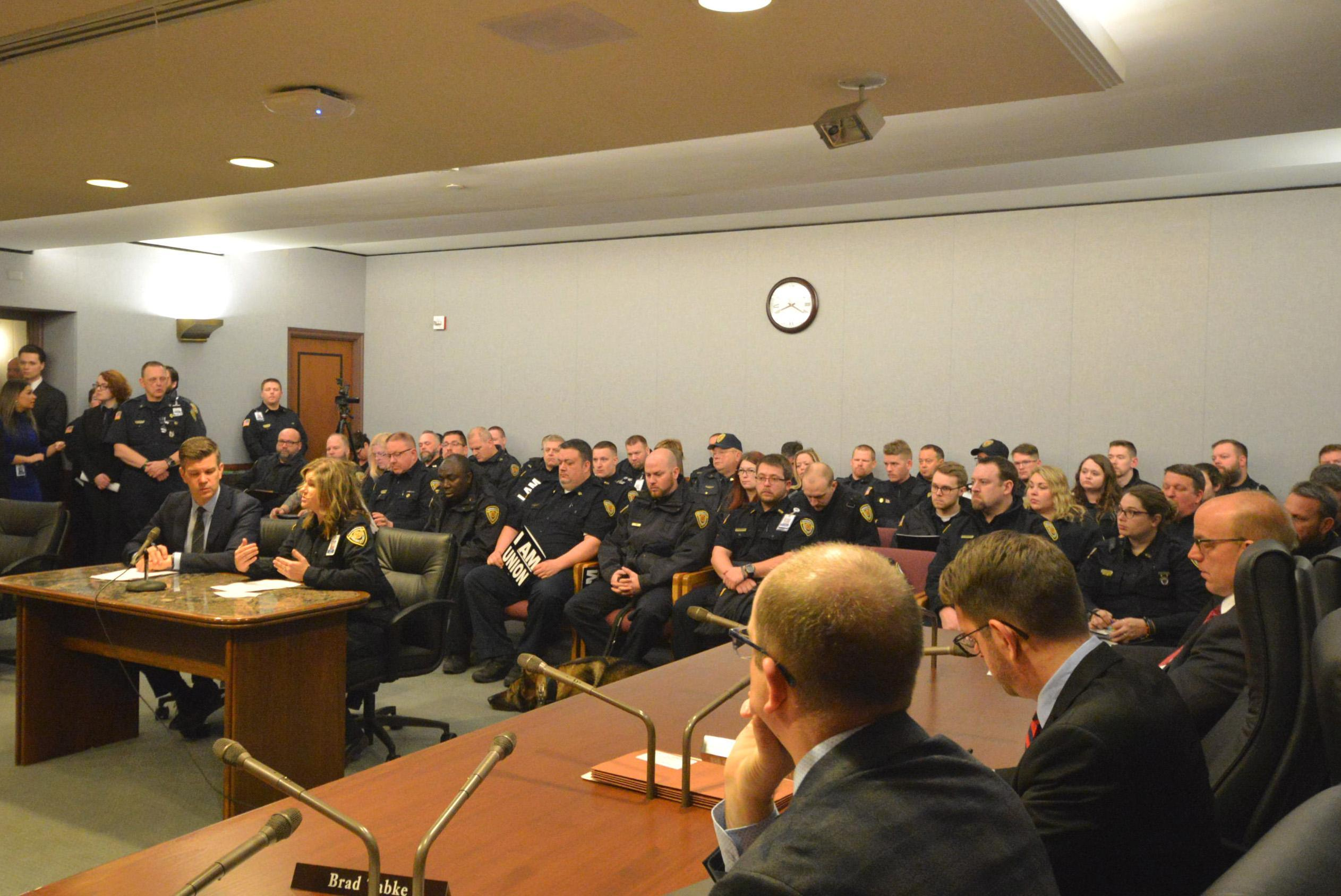 AFSCME Council 5 corrections officers and staff advocated for safe staffing, access to opioid-blocking medication, and a ban on private prisons at the Capitol.